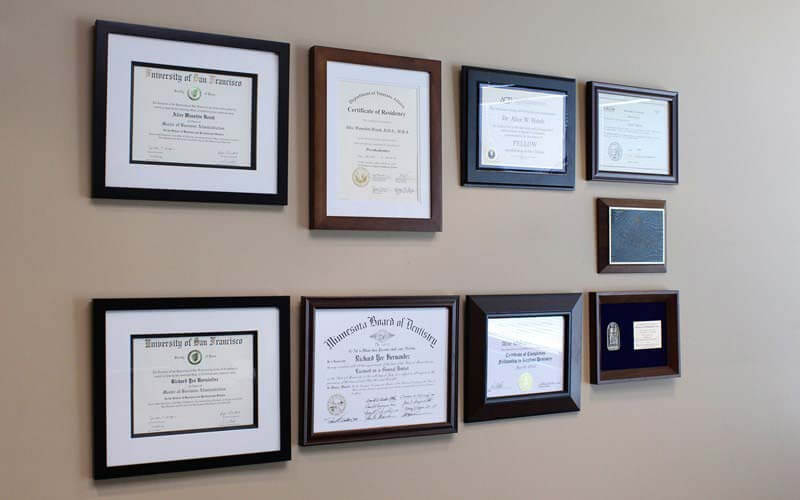 Dental College Diplomas hanging on wall | Scottsdale Cosmetic and Implant Dentist | Scottsdale Esthetic & Implant Dentistry
